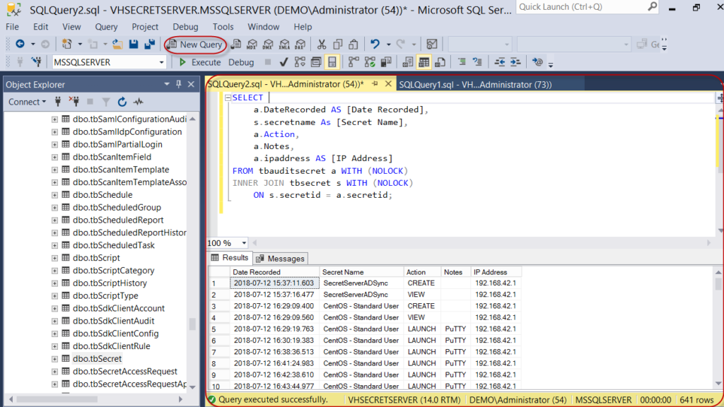 Running queries within the SQL Server Management Studio